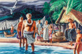 Mainstream Illustration, STEVAN DOHANOS (American, 1907-1994). Tahitian Story, 1940.Gouache and tempera on board. 14 x 21.5 in. (image). Signed ...