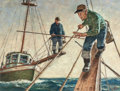 Mainstream Illustration, AMOS SEWELL (American, 1901-1983). Spear Fishermen. Oil onboard. 16.75 x 22.5 in. (image). Signed lower right. Prop...