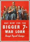 "Movie Posters:War, World War II Propaganda (U.S. Government Printing Office, 1945).U.S. Treasury Poster (20"" X 28"") ""Buy Now For the Bigger 7t..."