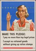 "Movie Posters:War, World War II Propaganda (U.S. Government Printing Office, 1943).Ration Stamps Poster (20"" X 28"") ""Make This Pledge: I Pay N..."