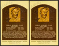 Baseball Collectibles:Others, Satchel Paige Signed Hall of Fame Plaque Postcards Lot of 2....