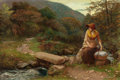 Fine Art - Painting, European:Antique  (Pre 1900), ARTHUR HUGHES (British, 1832-1915). The Footstep. Oil on canvas. 18-3/4 x 27-1/2 inches (47.6 x 69.9 cm). Signed lower r...