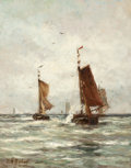 Paintings, HENDRIK WILLEM MESDAG (Dutch, 1831-1915). Fishing on the Choppy Sea near Scheveningen. Oil on canvas. 18-3/8 x 14-3/8 in...