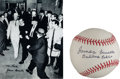 Autographs:Baseballs, James Leavelle Single Signed Baseball And Photograph(Handcuffed ToLee Harvey Oswald)....