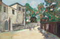 Fine Art - Work on Paper:Watercolor, MAURICE UTRILLO (French, 1883-1955). Rue Saint-Vincent, circa 1939. Gouache on paper laid on board. 12-7/8 x 19-5/8 inch...