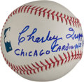 Autographs:Baseballs, Charlie Trippi Single Signed Baseball With Lengthy Inscription. ...
