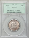 Seated Quarters: , 1876 25C MS63 PCGS. PCGS Population (111/195). NGC Census:(89/146). Mintage: 17,817,150. Numismedia Wsl. Price for problem...
