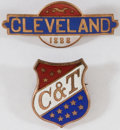 Political:Ferrotypes / Photo Badges (pre-1896), Grover Cleveland: Pair of 1888 Enamel Badges.... (Total: 2 Items)