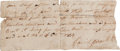Autographs:Military Figures, David Crockett Partial Document Signed...