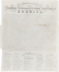 Autographs:Statesmen, [Eleazar Huntington]. Declaration of Independence EngravedBroadside....