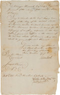 Autographs:Statesmen, Artemas Ward, Joseph Ward, and Charles Miller Document Signed....