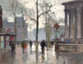Fine Art - Painting, European:Other , EDOUARD-LÉON CORTÈS (French, 1882-1969). Place de Madeleine,après la pluié. Gouache on paper watermarked 'TOCHONLEPA...