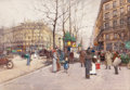 Fine Art - Painting, European:Other , EUGÈNE GALIEN- LALOUE (French, 1854-1941). Elégantes sur lesGrands Boulevards Parisiens. Watercolor and pencil on card...