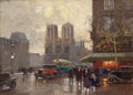 Paintings, EDOUARD-LÉON CORTÈS (French, 1882-1969). Place Saint-Michel (n° 1). Oil on canvas. 9-1/2 x 13 inches (24.1 x 33.0 cm). S...