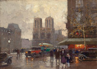 EDOUARD-LÉON CORTÈS (French, 1882-1969) Place Saint-Michel (n° 1) Oil on canvas 9-1/2 x 13 inches