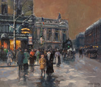 EDOUARD-LÉON CORTÈS (French, 1882-1969) Place de l'Opéra, 1968 Oil on canvas 18 x 21-3/4 inches (...