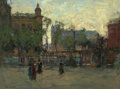 Fine Art - Painting, American, PAUL CORNOYER (American, 1864-1923). Early Evening, Empire Park,New York, circa 1910. Oil on canvas. 18 x 24 inches...