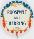 Political:Pinback Buttons (1896-present), Franklin D. Roosevelt: Rare Iowa Coattail Button....