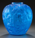 Art Glass:Lalique, R. LALIQUE ELECTRIC BLUE GLASS PERRUCHES VASE. Circa 1919,Wheel Carved: R. LALIQUE, Engraved: France. 9-7/8...