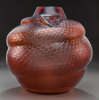 R. LALIQUE AMBER GLASS SERPENT VASE Circa 1924, Molded: R. LALIQUE 9-3/4 inche