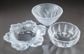 Art Glass:Lalique, THREE LALIQUE CLEAR AND FROSTED GLASS BOWLS. Post 1945, Engraved:Lalique, R (in circle), France. 5-1/4 inches high ...(Total: 3 Items)