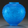 Art Glass:Lalique, R. LALIQUE ELECTRIC BLUE GLASS GUI VASE. Circa 1920, Molded:R. LALIQUE, Engraved: France. 6-1/2 inches high...