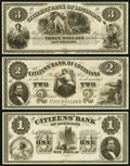 Obsoletes By State:Louisiana, New Orleans, LA - Citizens Bank of Louisiana $1, $2, and $3 18__ Remainders. ... (Total: 3 notes)