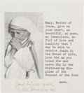 Autographs:Non-American, Mother Teresa Typed Prayer Signed....