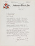 Autographs:Celebrities, August A. Busch Typed Letter Signed...