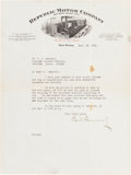 Autographs:Celebrities, William C. Durant Typed Letter Signed...