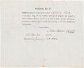 Autographs:Celebrities, Noah Webster Stock Certificate Signed....