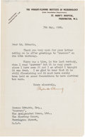 Autographs:Inventors, Sir Alexander Fleming Typed Letter Signed....