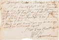 Autographs:Non-American, Sir William Pepperrell Autograph Letter Signed...