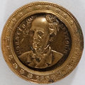 Political:Ferrotypes / Photo Badges (pre-1896), Horatio Seymour: Gilt and Silvered Brass Shell Badge. ...
