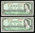Canadian Currency: , BC-37b and BC-37b-1 $1 1954 . ... (Total: 2 notes)