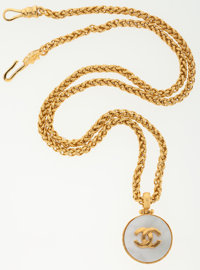 Chanel Hammered Gold Chain Necklace with Pearl Medallion