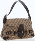 Luxury Accessories:Bags, Gucci Classic Monogram Canvas Shoulder Bag with Leather HorsebitDetail. ...