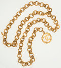 Luxury Accessories:Accessories, Chanel Gold Chain Belt with Large CC Pendant. ...