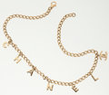"""Luxury Accessories:Accessories, Chanel Gold Chain Necklace with """"CHANEL"""" Charms. ..."""