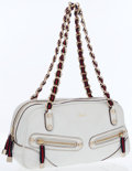 Luxury Accessories:Bags, Gucci White Leather Shoulder Bag with Red & Blue Web StripeStraps. ...