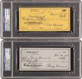 Autographs:Checks, Three Stooges Moe & Shemp Howard Triple Signed Checks Pair(2)....
