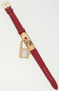 Luxury Accessories:Accessories, Hermes Rouge Vif Epsom Leather Kelly Watch with Gold Hardware. ...