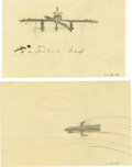 Movie/TV Memorabilia:Original Art, Peter Fonda Hand-Drawn Pictures from Age 8, 1948. Young PeterFonda, age 8, continues to keep his father Henry Fonda enterta...(Total: 1 Item)