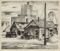 CHARLES BOWLING (1891-1995) Industrial Encroachment, 1939 Lithograph on paper 10 x 12 inches (25