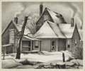 Texas:Early Texas Art - Regionalists, CHARLES BOWLING (1891-1995). Smoke and Snow. Lithograph onpaper. 10 x 12 inches (25.4 x 30.5 cm). Signed lower right. T...