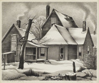 CHARLES BOWLING (1891-1995) Smoke and Snow Lithograph on paper 10 x 12 inches (25.4 x 30.5 cm)