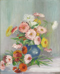 Texas:Early Texas Art - Impressionists, NANNIE HUDDLE (1860-9151). Untitled Still Life Zinnias. Oil oncanvas. 22 x 26 inches (55.9 x 66.0 cm). Signed lower right. ...