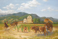 Texas:Early Texas Art - Regionalists, BEN CARLTON MEAD (1902-1986). Santa Ynez Mission. Oil onlinen. 36 x 60 inches (91.4 x 152.4 cm). Signed lower left. ...