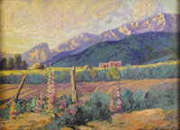 FRANZ STRAHALM (1879-1935) Sunset in Taos, N. M. Oil on canvas 16 x 22 inches (40.6 x 55.9 cm)