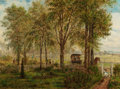 Fine Art - Painting, American:Antique  (Pre 1900), EDWARD LAMSON HENRY (American, 1841-1919). Returning fromChurch, 1864. Oil on paper laid on canvas. 14 x 19 inches(35....